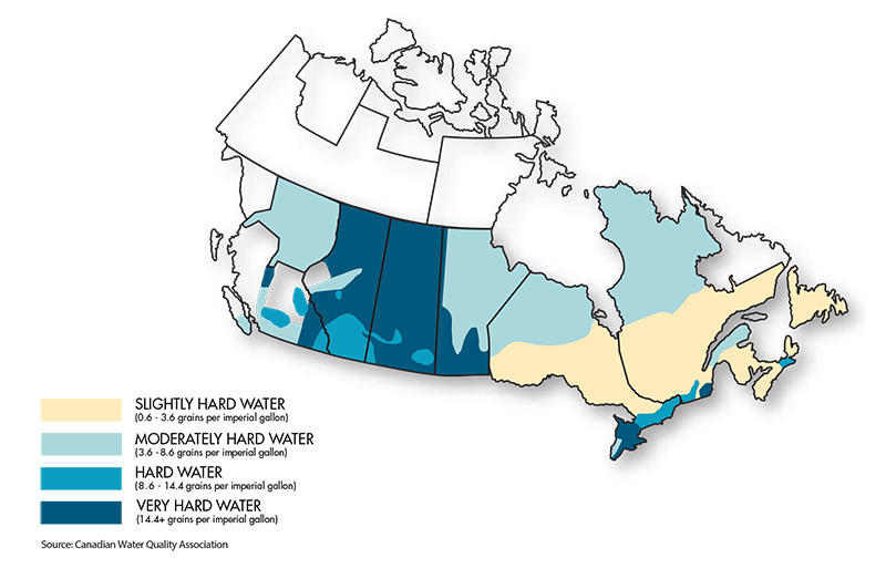 Map of Hard Water in Canada | SiftoWater